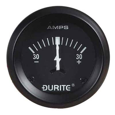0-523-01 – Ammeter Gauge Illuminated 52mm 30-0-30 amp  – Qty. 1