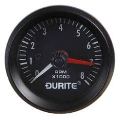 0-523-20 – Tachometer Gauge Illuminated 0-8000rpm 52mm 12 volt  – Qty. 1