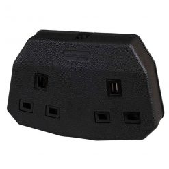 0-700-00 – Socket 13 amp 2 Way Black Rubber  – Qty. 1